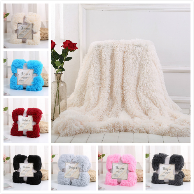 White Super Soft Long Shaggy Fuzzy Fur Faux Fur Warm