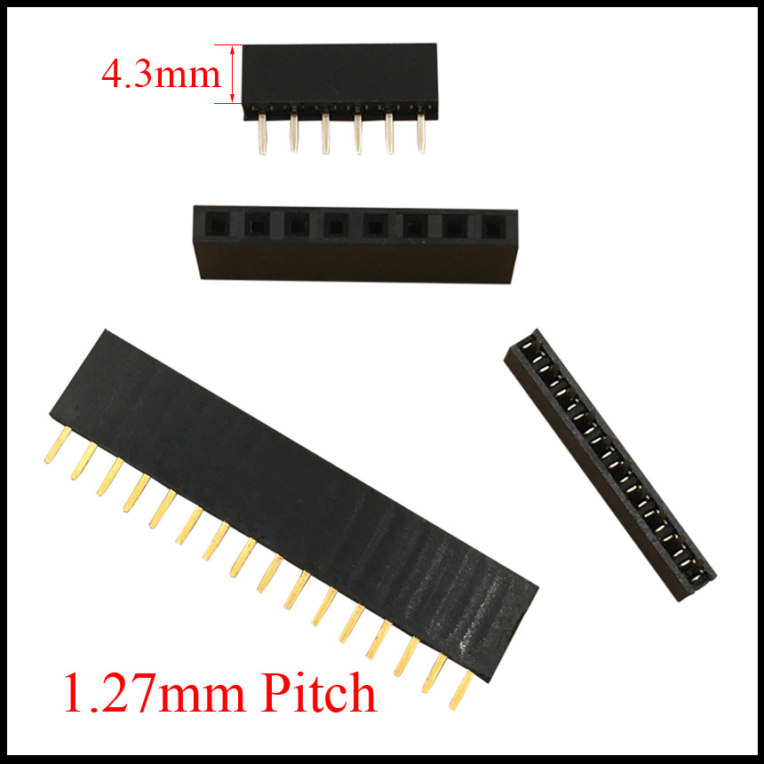 цена на 1*40 1x40 1*50 1x50 Pin 40P 50P 1.27mm Pitch Space 4.3mm Height Female Connector Single Row Straight Pin Header Strip