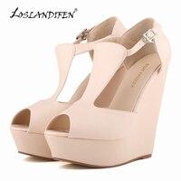 LOSLANDIFEN WOMENS FAUX SUEDE PLATFORM PEEPTOE LADIES HIGH Sandals WEDGES HIGH HEEL 10 Color 391 1MA