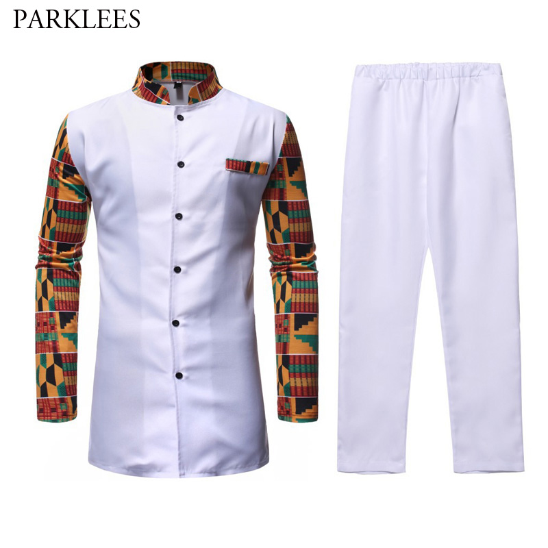 African Dashiki Shirt Top Pant Set 2 Piece Outfit Set African Men Clothes 2019 Brand New Long Sleeve Dashiki Shirt With Trouser