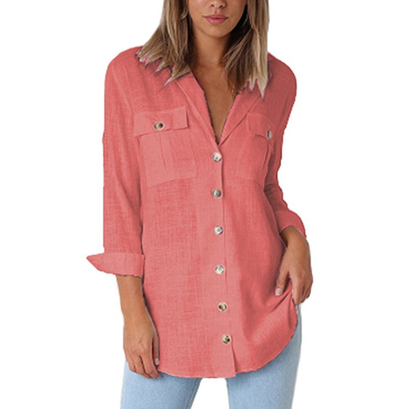 Women Blouse Shirts Spring Autumn For Lady Work Long Sleeve Tops Pockets Female Fashion Plus Size Clothing Blusas Mujer 2019 New in Blouses amp Shirts from Women 39 s Clothing