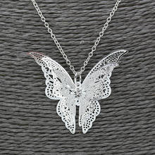 2018 New High Quality Fashion Butterfly Pendant silver Chain Necklace for Women big Crystal Lovely Butterfly Pendant Jewelry(China)