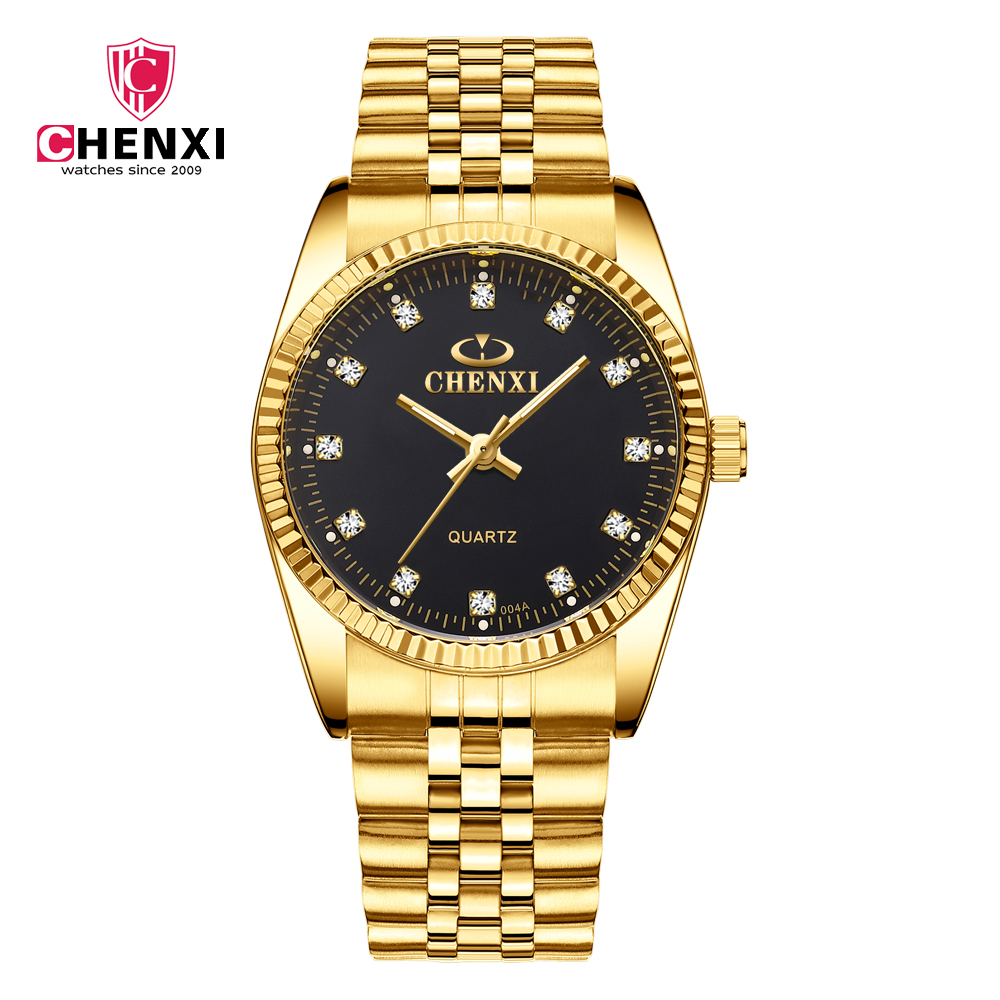 Mens Watches Top Brand Luxury Full Gold Watch Men Stainless Steel Green Quartz Wrist Watches for Men Clock relojes hombre 2018