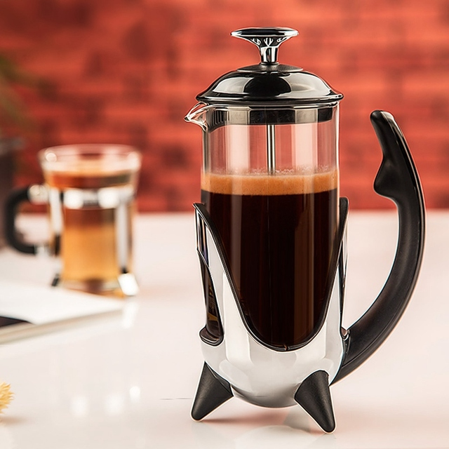 Heat Resistant Gl Cafetiere French Press Coffee Maker Stainless Steel Filter Pot Tea Kettle Kitchen