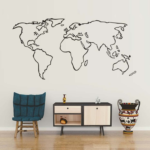 dctop large world map vinyl wall sticker for living room adhesive removable map outline wall decals