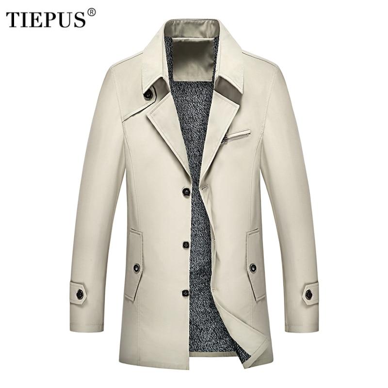 Tiepus New Winter Long Coat Men's Fashion Solid Color Fleece Business Long Jacket Men's Windbreaker Plus Size M~6xl 7xl 8xl 9xl