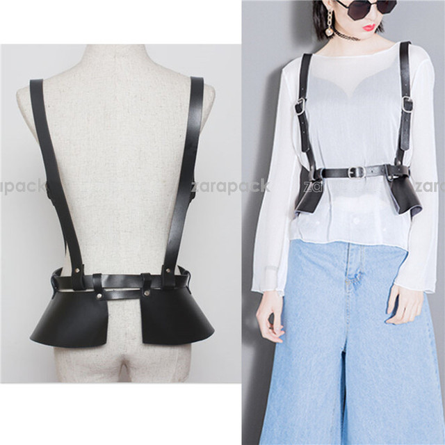 Designer Brand Chic Genuine Leather Runway Wide Belt Leather Corset Harness Style Wrap Belt S,M