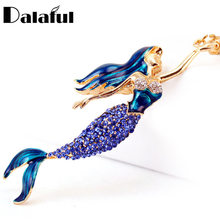 Dalaful Mermaid Sea-maid Key Chains Rings Holder Enamel Crystal Purse Bag Buckle Pendant For Car Keyrings KeyChains K270(China)