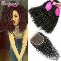 Malásia Kinky Curly Virgem Cabelo Com Encerramento 4 Encaracolado Malaio Feixes de cabelo Com Fechamento Molhado e Ondulado Do Cabelo Humano Com fechamento