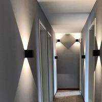 Free shipping 12W COB LED wall lamp PIR IP65 White Black Modern style Aluminum outdoor sensor lighting for garden and corridors