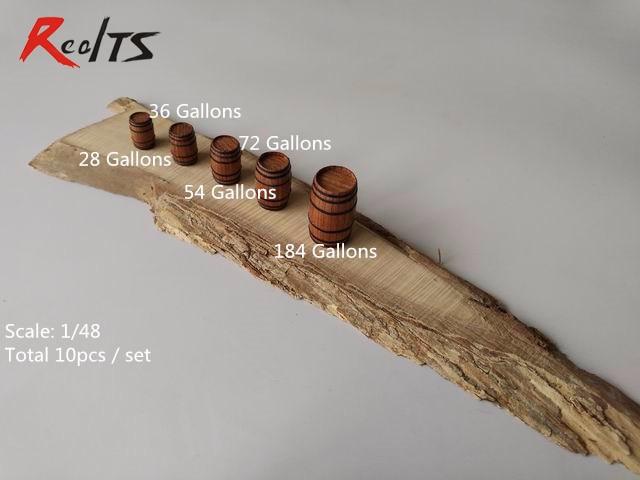 RealTS Ship Model Kit Scale 1:48 Wood Barrels Bucket Model Kit Accessories Scene Model 10pcs