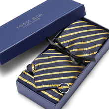 Men`s Tie Gold Striped 100% Silk Jacquard Woven Hanky Cufflink  Neck For Men Party Wedding Business Gift box
