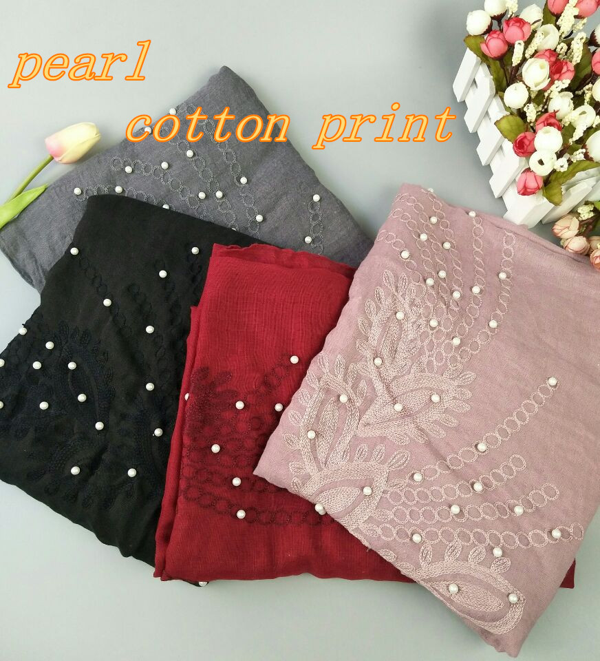 A8 High quality new pearl with cotton print shawl wrap hijab wrap women scarves scarf hot selling