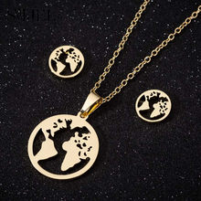SMJEL World Map Necklaces Planet Earth Pendant Necklace Round For Women Girl Stainless Steel Set Globe Traveler Men Gifts(China)