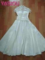White Bridesmaid Dresses 2017 Formal Dresses V Neck Elegant Gowns Short Sleeve Tea Length Vestido De