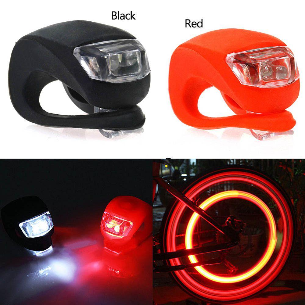 WasaFire 2pcs/lot Silicone Bike Light Bicycle Cycling Head Front Rear Wheel LED Flash Light Lamp Fishing Flashlight Headlamps