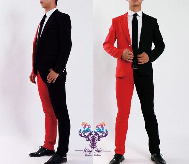 Мужская этап производительность половина красная, а половина черный клоун жесткие смокинг куртка и штаны