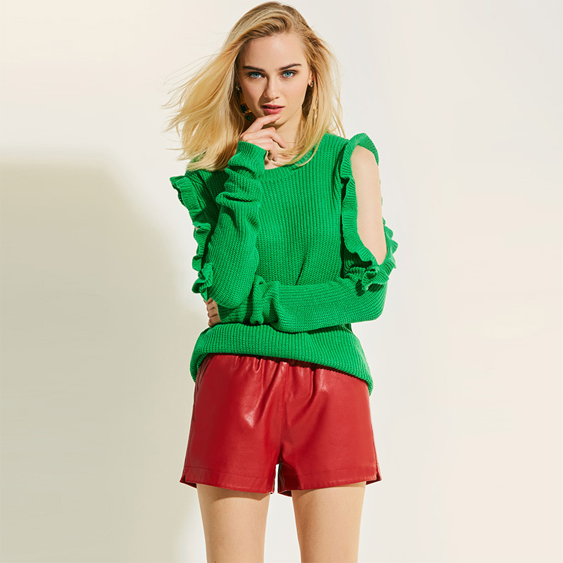 Warm Sweater Spring Autumn Casual Female Solid Green Outerwear Long Sleeve Hollow Round Neck Pullover Knitwear Plain Ruffles in Pullovers from Women 39 s Clothing