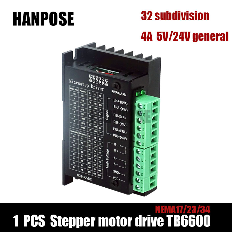 Free Shipping Stepper Motor Driver TB6600 Nema 23 Nema 34 42/57/86 Nema17 4A DC9-40V 1 axis Stepping Motor CNC Engraving Machine 4a integrated stepper motor controller pc control single axis 42 57 stepping motor driver cnc