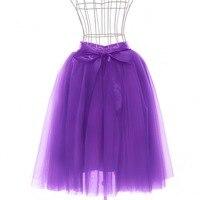 FOLOBE Mode High Street Fashion Frauen Tüll Rock 7 Schichten Lila Futter Puffy A-linie Tutu Elastischem Satin Taille