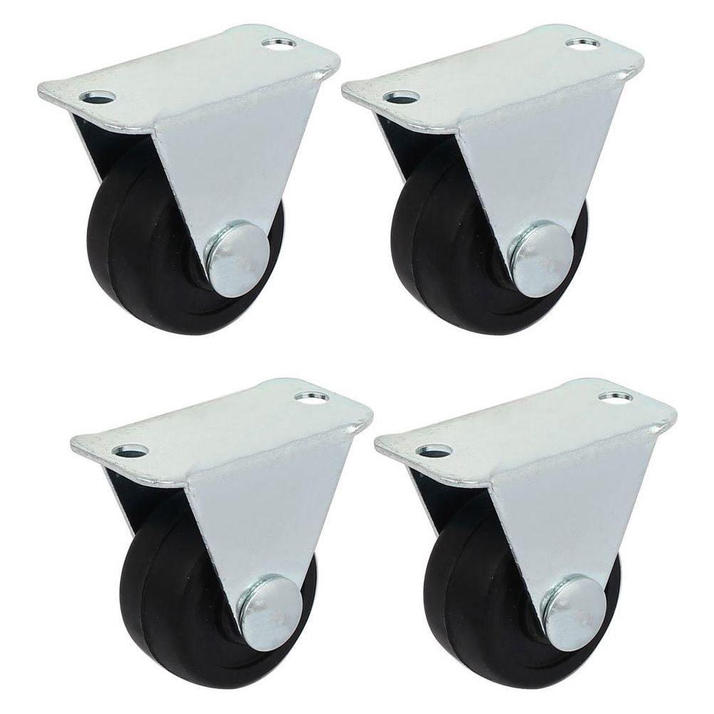 1-inch Dia Rubber Single Wheel Rigid Non-Swivel Top Plate Fixed Casters 4pcs цены