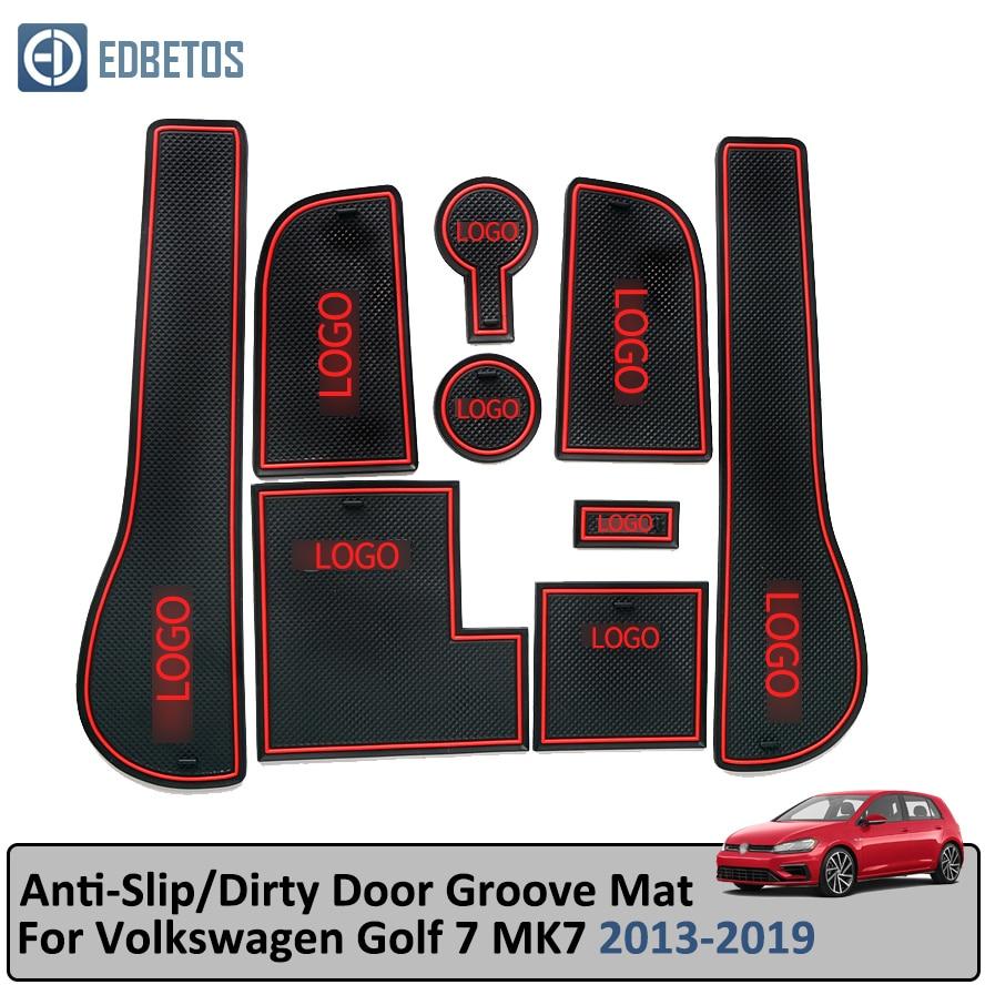 Door Groove Mat For Volkswagen Golf 7 MK7 2013-2019 Anti-Slip Mat Gate Slot Coaster Anti-Dirty Mat