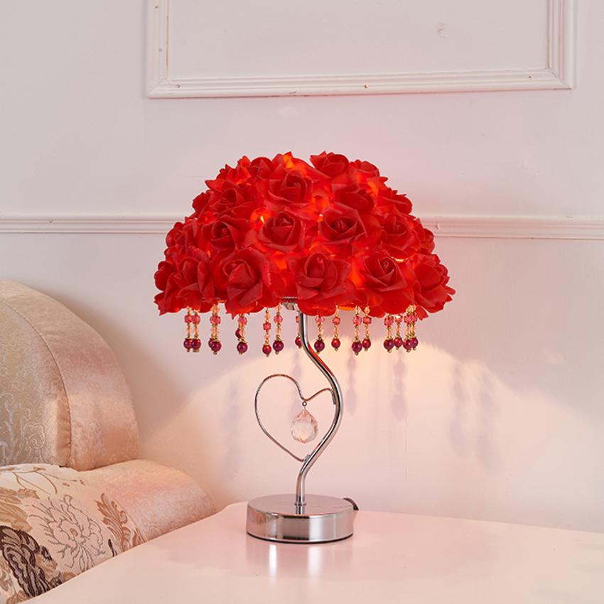 Led Lamps Led Table Lamps European Creative Wedding Table Lamp Handmade Rose Flower Pu Cloth Lampshade Bedroom Bedside Decoration Table Lights Fixture Making Things Convenient For The People