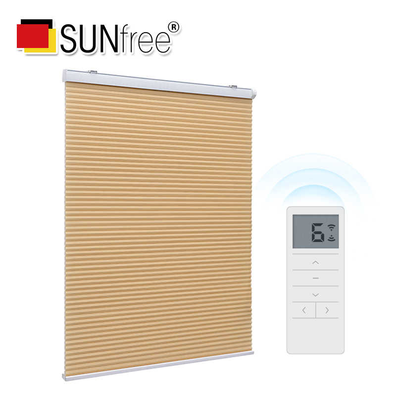 SUNFREE Electric honeycomb blinds Customize size Daylight fabric and blackout fabric Noise Reduction Motorized honeycomb blinds
