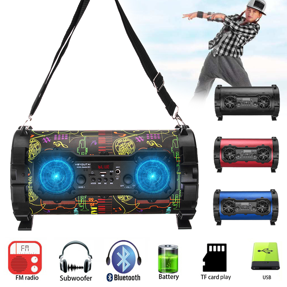 15W Wireless bluetooth Speaker Stereo Bass Portable Loudspeaker Sound System AUX/USB/TF Card/FM Radio Outdoor Speaker Subwoofer15W Wireless bluetooth Speaker Stereo Bass Portable Loudspeaker Sound System AUX/USB/TF Card/FM Radio Outdoor Speaker Subwoofer