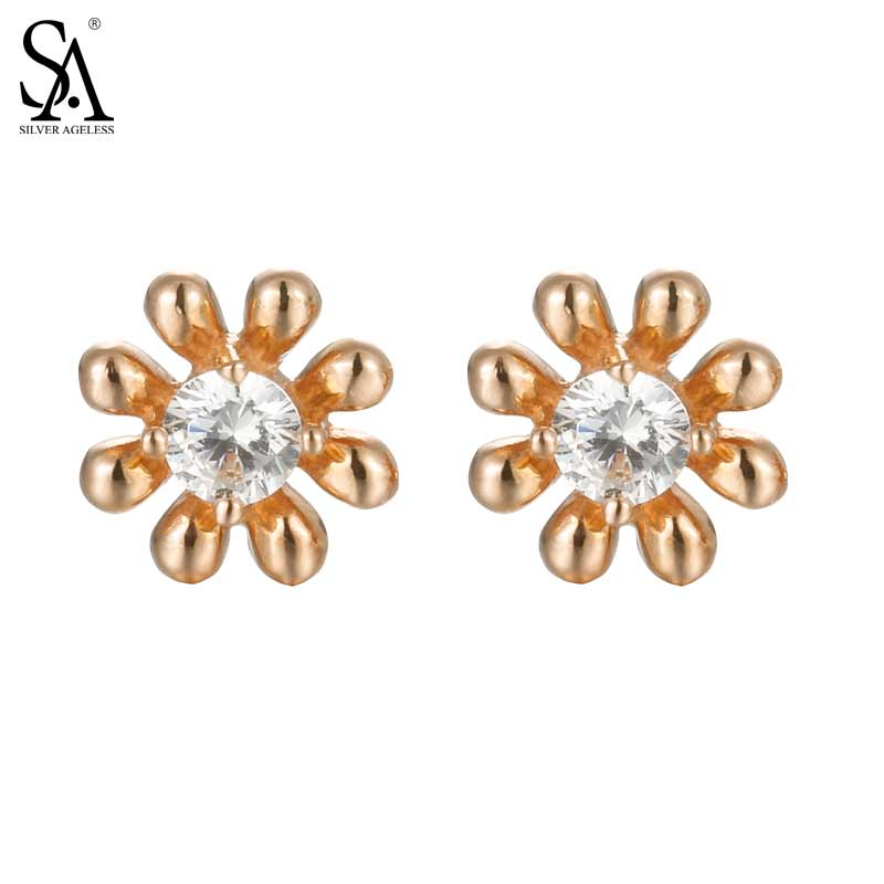 SILVER AGELESS 18K Rose Gold Flower Stud Earrings for Women Fine Jewelry 2017 New Arrival yoursfs charms rhinestone rose stud earrings 18k gold plated fashion cz jewelry delicate crystal rose women stud earrings for wom
