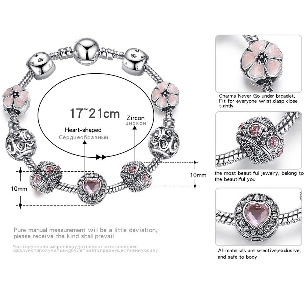 BELAWANG Luksuzni 925 srebrni šarm narukvice za žene s cvijetom i - Modni nakit - Foto 2