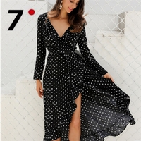 Casual Long Sleeve Polka Dot Ruffle Wrap Dress Women Sexy V Neck Split Robe Longue Black