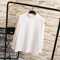 Warm Thick Women Lace Tops Casual Plus Size 3XL 4XL Loose O-neck Lace Long Sleeve T-shirts White KK2051