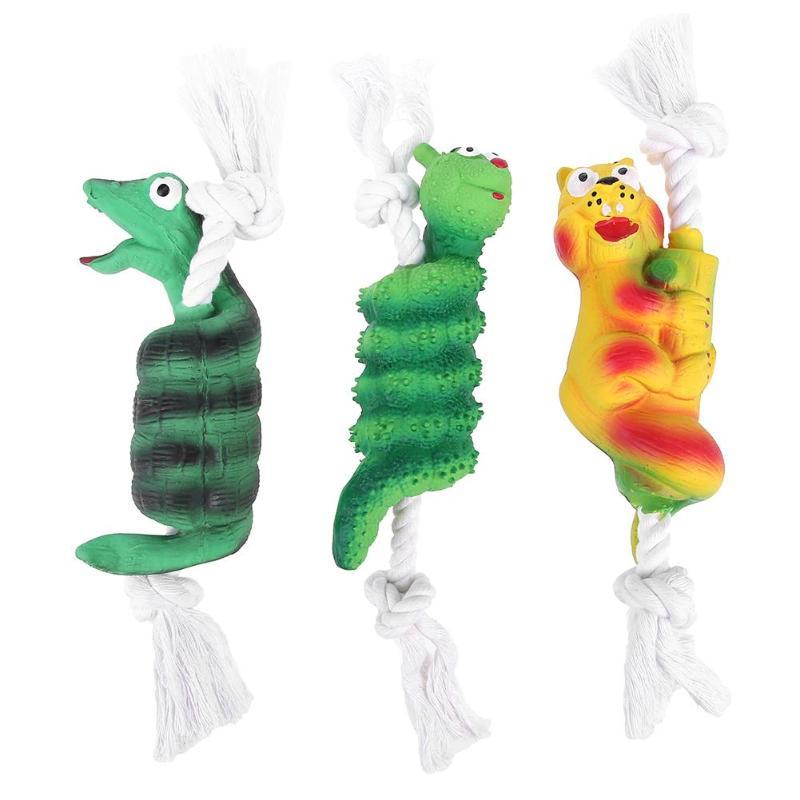 Игрушки для собак хлопчатобумажной веревки латекс, звук Сожмите Укус устойчивостью животное собака моляров игрушки чистить зубы
