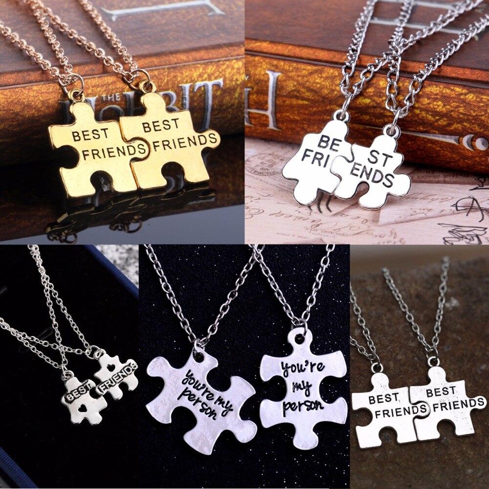 2PC Friendship Necklaces Best Friends Puzzle Pendants Chain Necklace Couples BFF Friends G