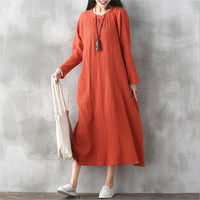 Fashion Cotton Linen Vintage Dress 2019 Summer Autumn Women Casual Loose Boho Long Muslim Maxi Dresses Vestidos Plus Size S 6XL