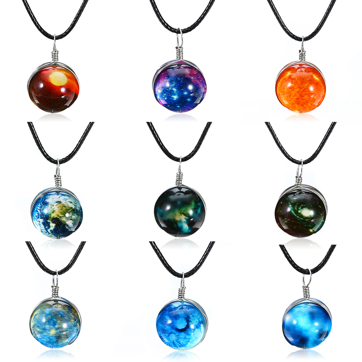 Shellhard Fashion Unisex Dreamy Glass Ball Star Universe Galaxy Pattern Pendant Necklace Colorful Charms Chain Luminous Jewelry