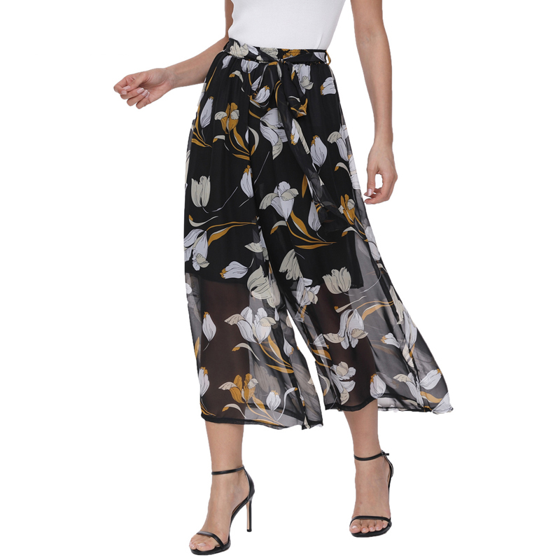 New 2018 Summer   Pants   Women Elastic Waist Boho Style Chiffon Trousers Capris Female Casual Loose   Wide     Leg     Pants   pantalon femme