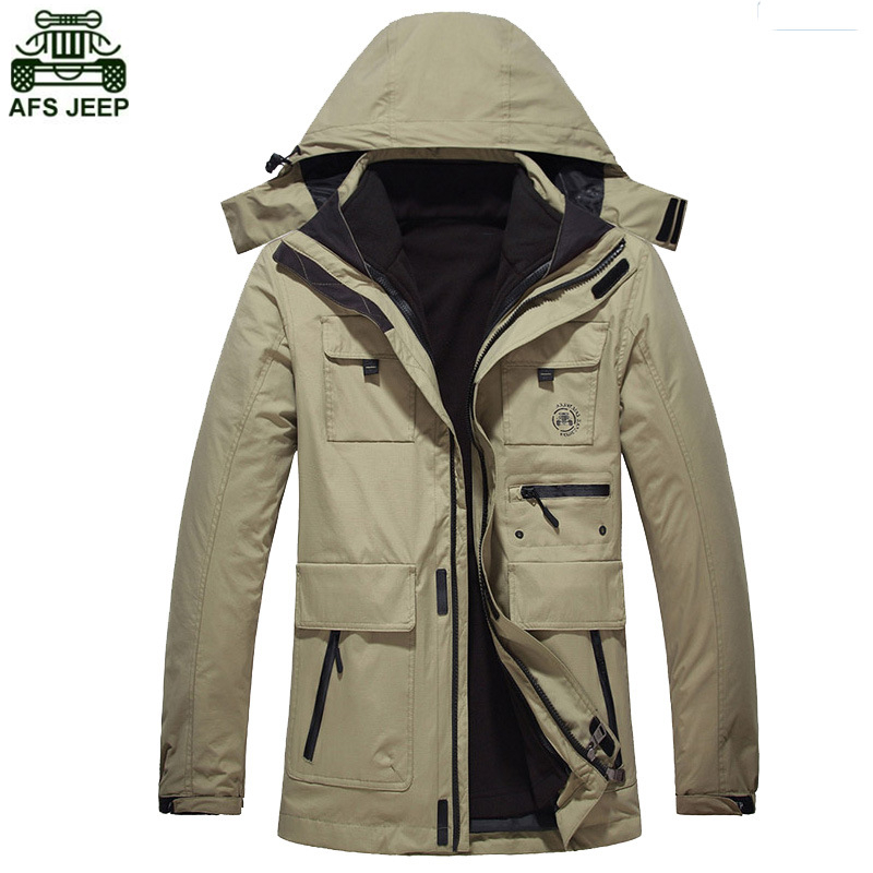 AFS JEEP Brand Outdoor Camping Fishing Hiking Clothing Fleece Jacket Hunting Clothes Winter Coat Men Waterproof Windstopper 2017