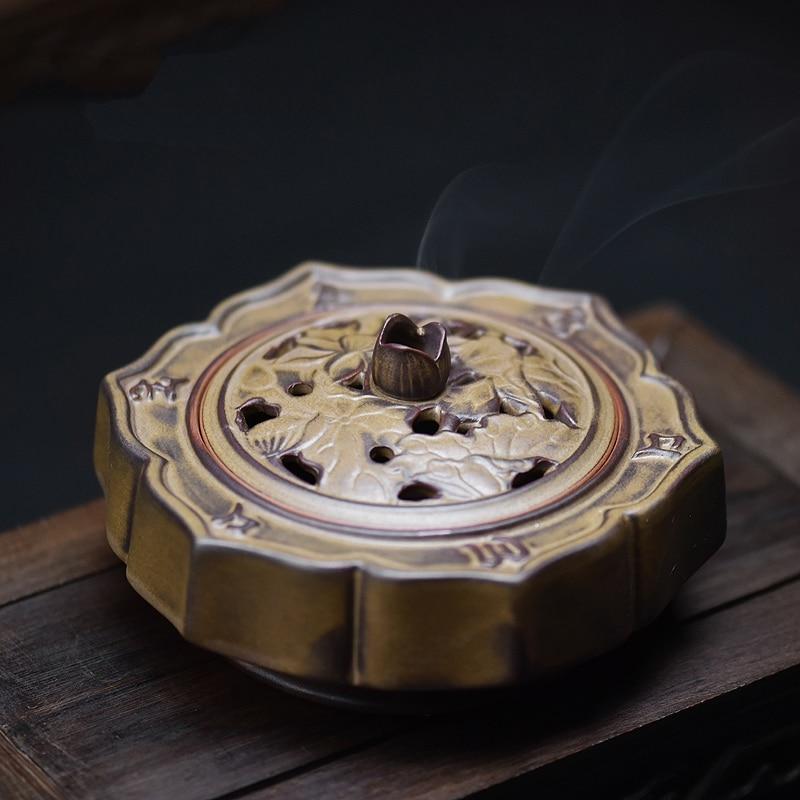 PINNY nouveau Design Lotus en céramique brûleurs d'encens de haute qualité Vintage bobine encensoir cadeaux et artisanat décorations pour la maison porte-encens