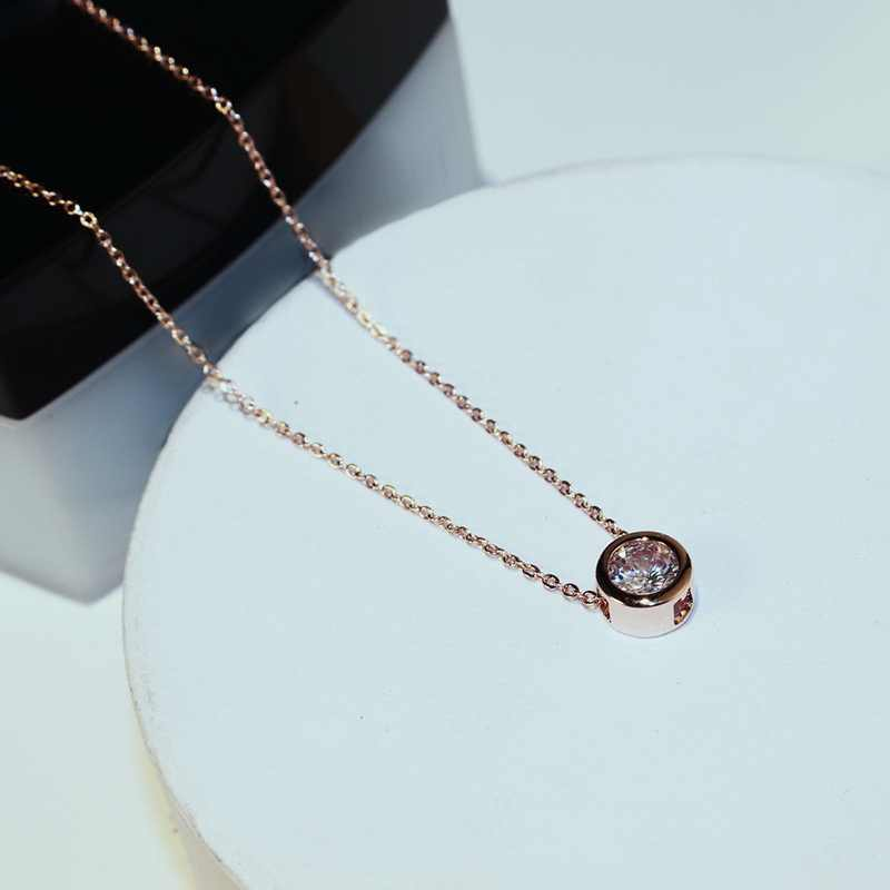 Simple Rose Zircon Choker Necklace Women Bijoux Classic Fashion Jewelry Wholesale Cute Gift
