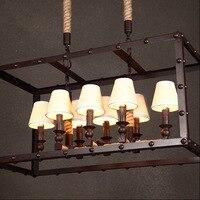 Rusty iron retro industrial iron box pendant light Dining 8 head rope rust colored Rectangle Pendant light hanging lamp