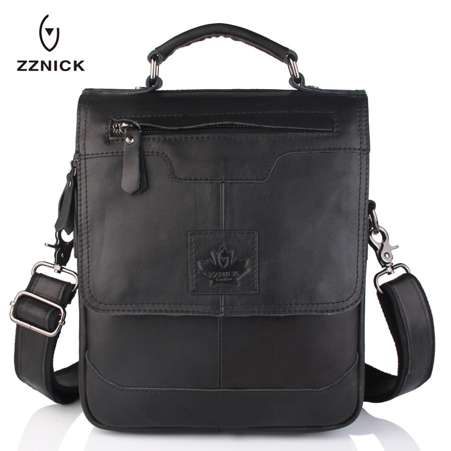 ZZNICK Men 100% Genuine Cow Leather Crossbody Shoulder Bag Men Messenger Bag Vintage Leather Male Business Bag Briefcase Handbag