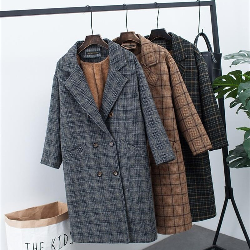 U-SWEAR New Winter Clothing Plus Velvet Thick Woolen Jacket Female Korean Version of The Long Loose Plaid Woolen Coat Mujer