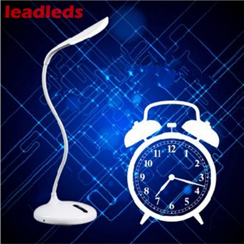 Leadleds Rechargeable Intelligent Table Lamps Timing Desk Lamp 3 Level Dimmer Alarm clock Led Reading Light On/Off Touch Switch icoco new led touch on off switch desk lamp children eye protection student study reading dimmer rechargeable led table lamps