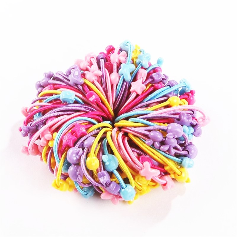 AKWZMLY 100pcs/lot Flower Cartoon Elastic Hair Band Cute Headband Candy Color Kids Star Rabbit Heart Hair Accessories For Girls