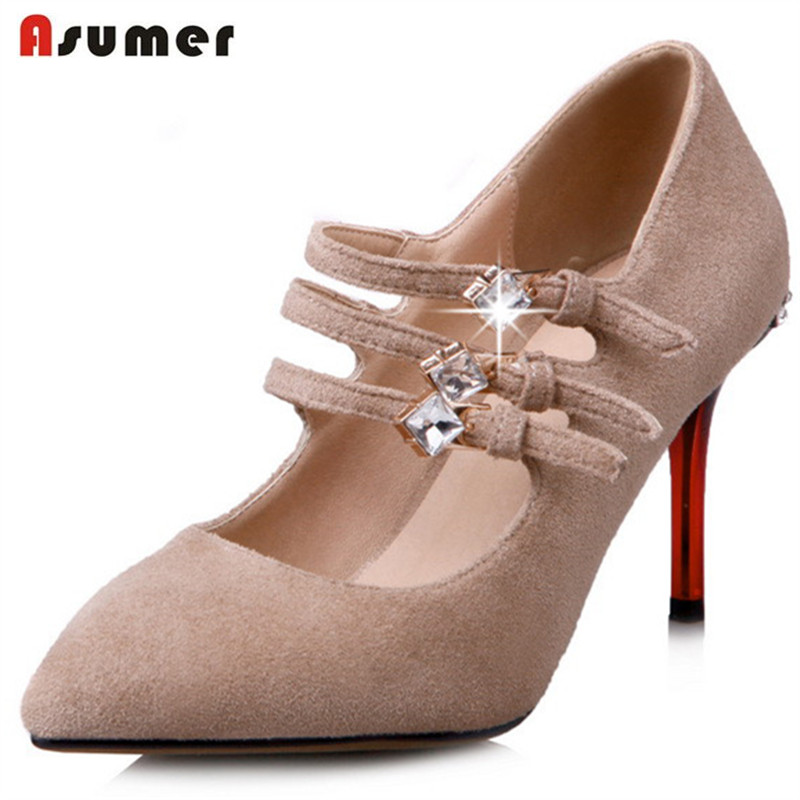 Asumer Women pumps fashion shoes buckle flock shallow high heels shoes solid pointed toe party shoes rhinestone size 34-40 meotina high heels shoes women pumps party shoes fashion thick high heels pointed toe flock ladies shoes gray plus size 10 40 43