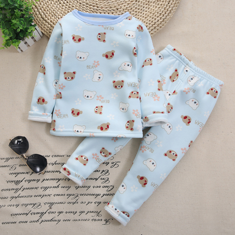 Girls Pajamas Set Winter Baby Warm Velvet Thickening Long Sleeves Tops+Pants Suit 2pcs Kids Children Clothes Set Boy pajama suit 2pcs children outfit clothes kids baby girl off shoulder cotton ruffled sleeve tops striped t shirt blue denim jeans sunsuit set