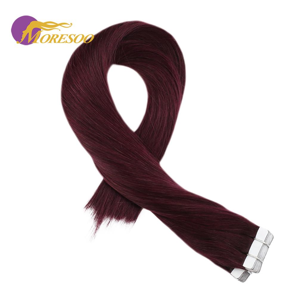 Moresoo Tape In Hair Extensions Wine Red #99J Color Machine Remy Brazilian Human Hair Skin Weft Tape On Hair 2.5g/pcs 14-24 Inch