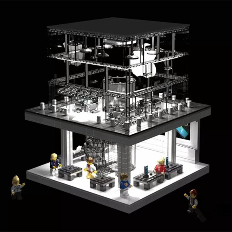 Sembo LED Blocks City Creatosr Apple store Minifigure Building Blocks action figure bricks Compatible With LEPIN